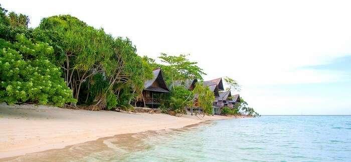 Water on shore Lankayan Island Malaysia