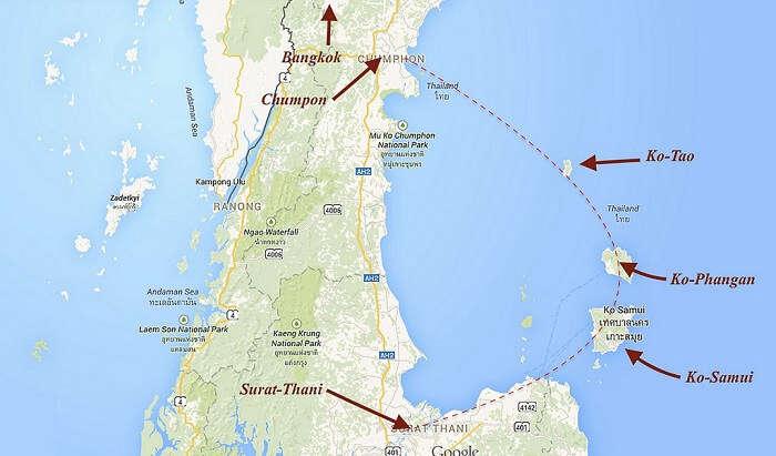 Map koh Phanggan