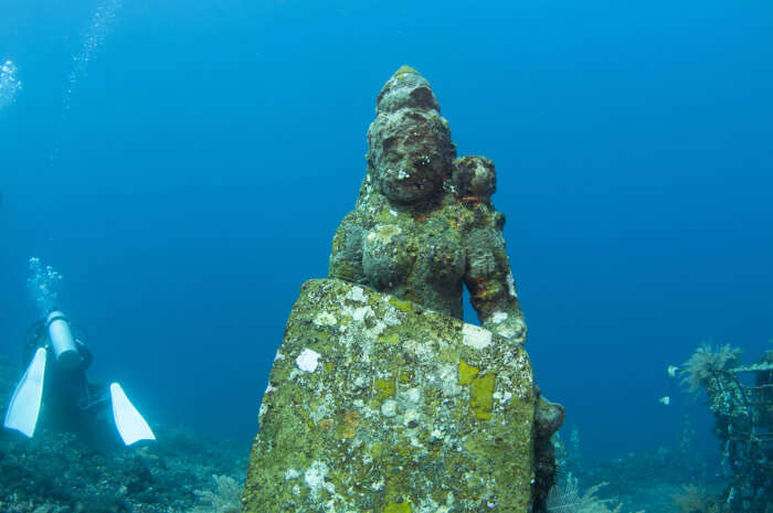 A goddesses' statue under water at Pemuteran Bay, Bali