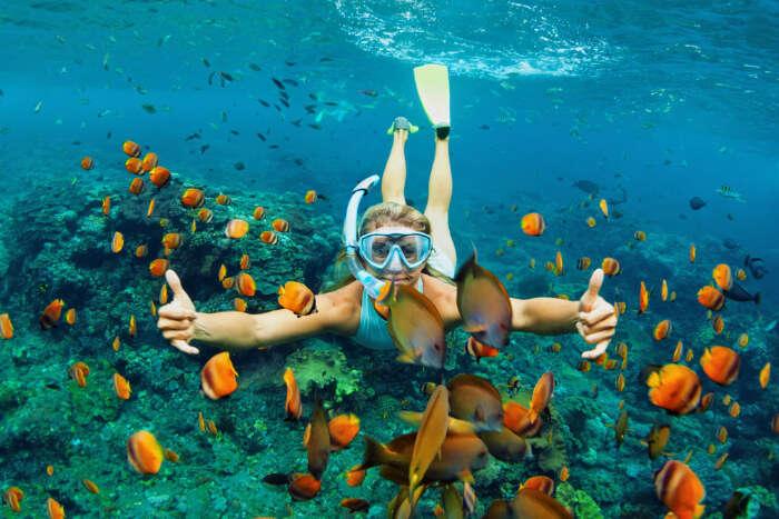 A woman enjoying snorkeling