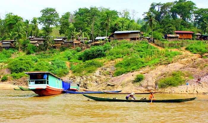 people on the slow boat cruise in mekong river