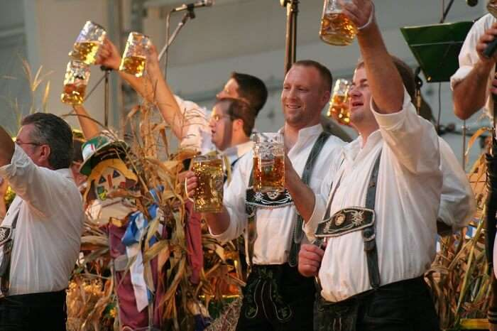 beer mugs at oktoberfest