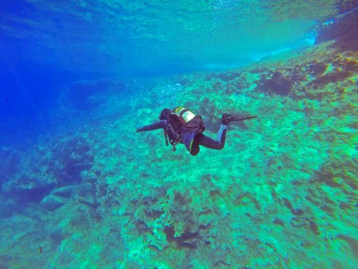 Boy diving in sea