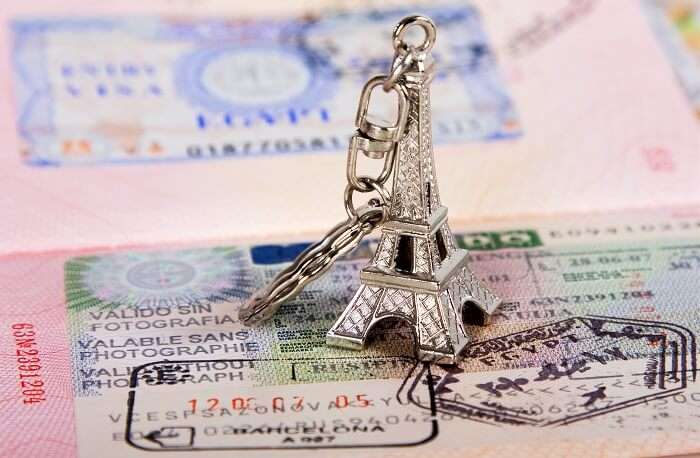 Eiffel tower miniature on the map