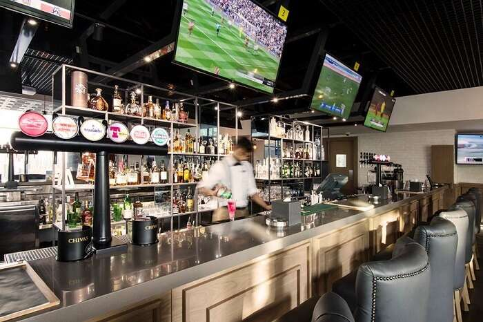 bar counter and tv screen
