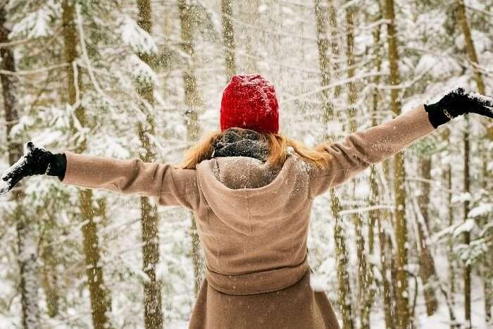 girl enjoying winter in spain