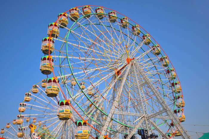 Giant ferry wheels at a fair