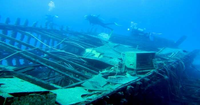 wrecked ship at a diving sites in sri lanka