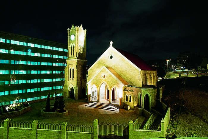 beautiful church at night