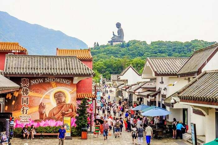 artistic walls of Ngong Ping Village