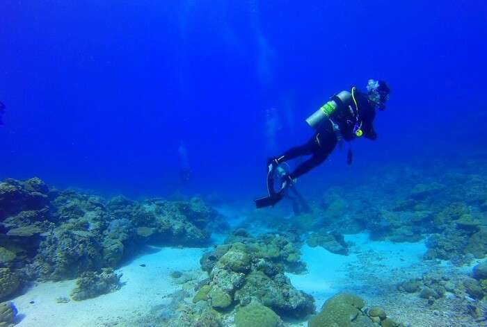 Scuba diving in seawater