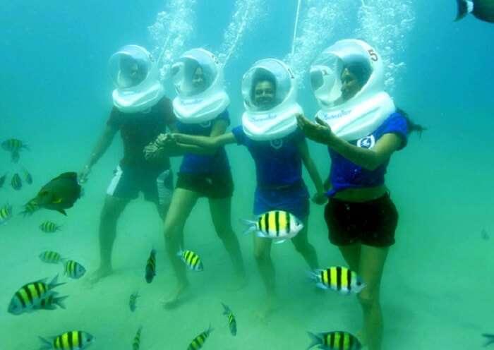 girls on a sea walking adventure