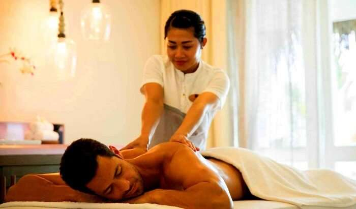 massage therapy at famous spa in resort