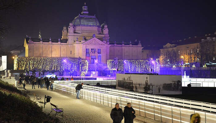 Glowing Building in Advent Festival in Zagreb, Croatia