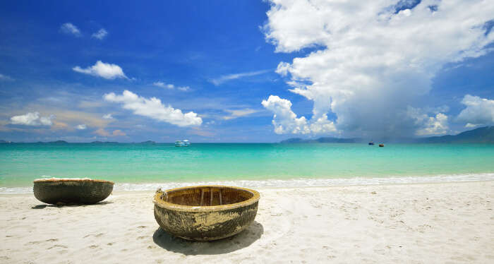 sparkling white sand beach