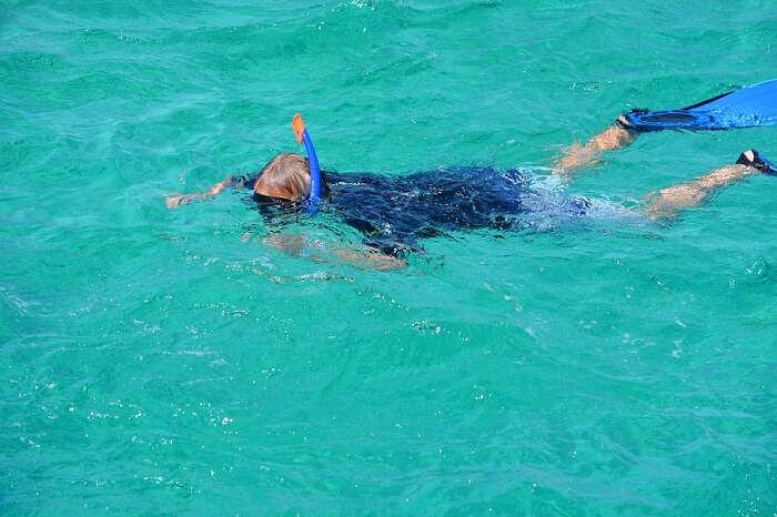 snorkeling in water
