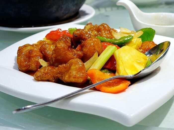pork pieces in sweet n sour sauce