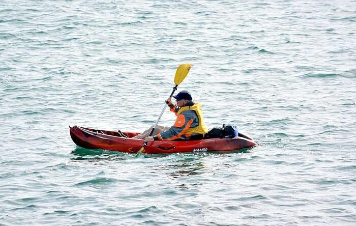 Enjoying water sports