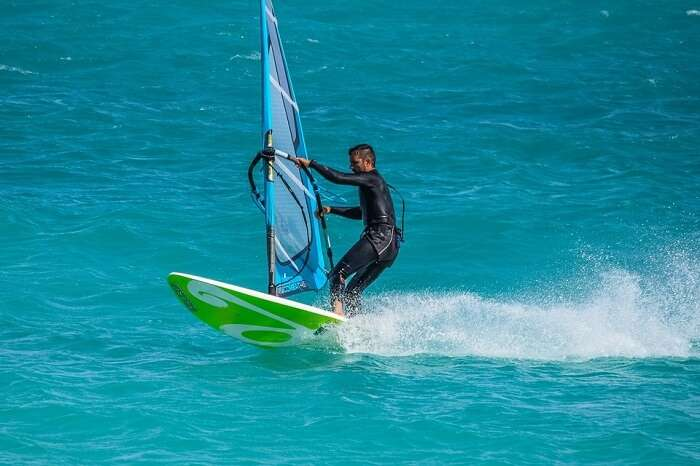 windsurfing in water