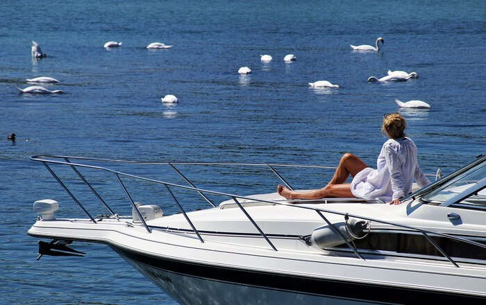 People relaxing on Boat