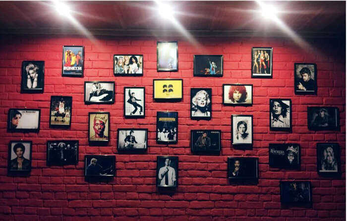 wall full of photos