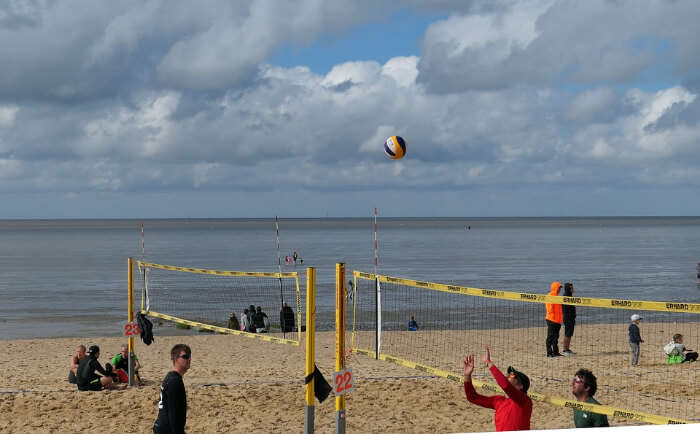 Enjoy a friendly game of volleyball