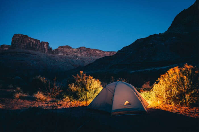 pitch a tent and camp