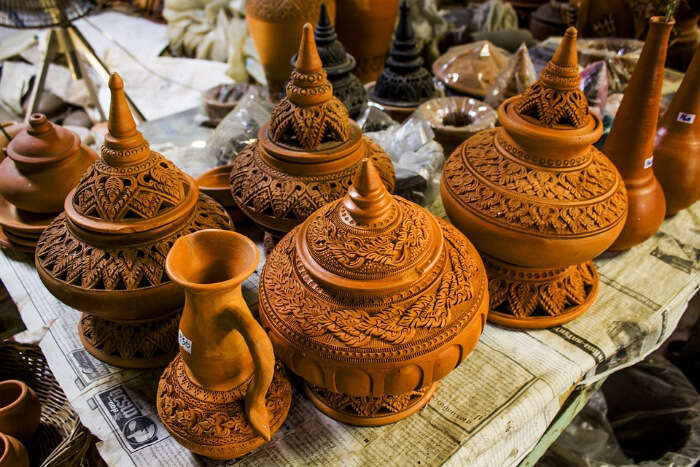 Pottery work displayed for sale in a market