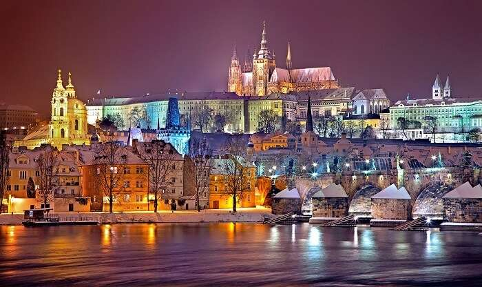 Night Snow Prague Castle Winter Prague