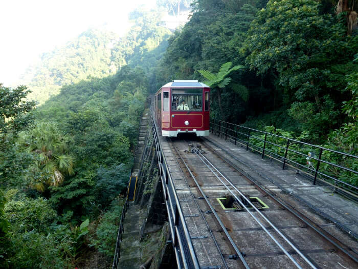Ride on the peak tram