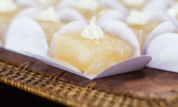 Made with eggs and shredded coconut