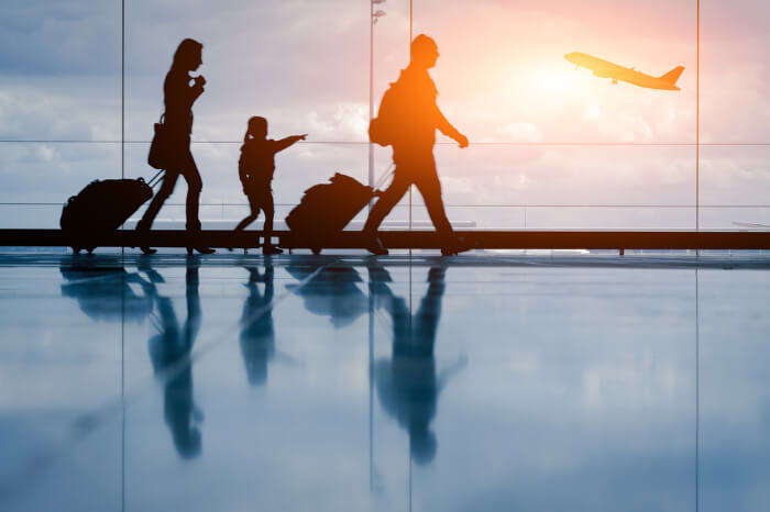A family at the airport
