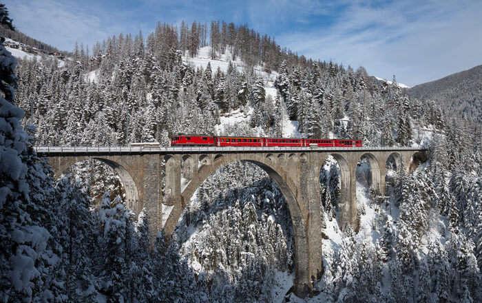 Train on small bridge