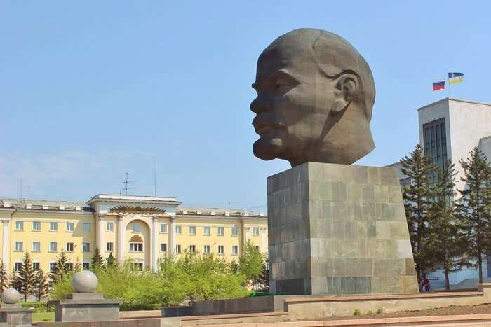 Statue of Giant Lenin Head