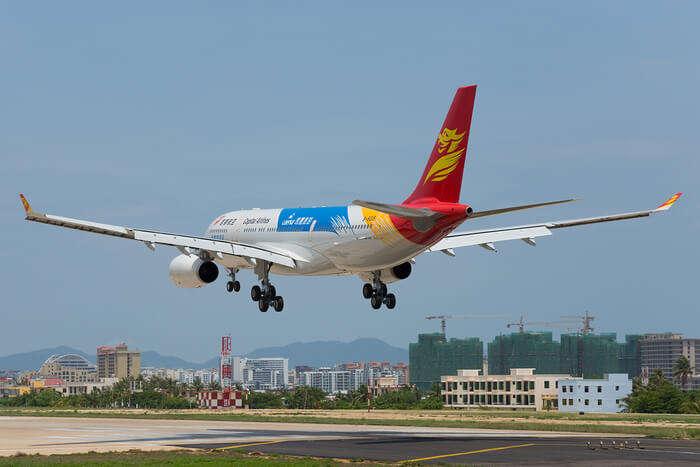 Aeroplane landing at airport