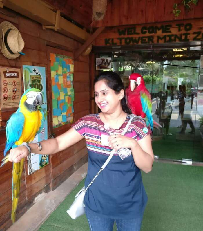 Lady enjoying with parrot