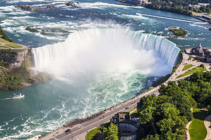 A top view of Niagara Falls in Canada