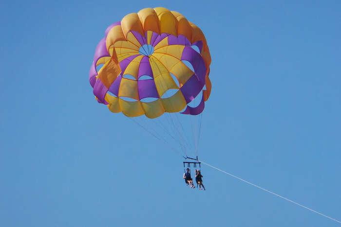 Parasailing in sky