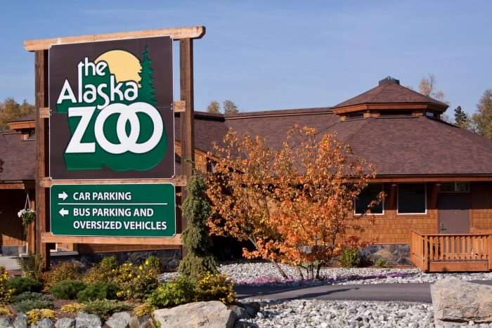 The entrance to the Alaska Zoo