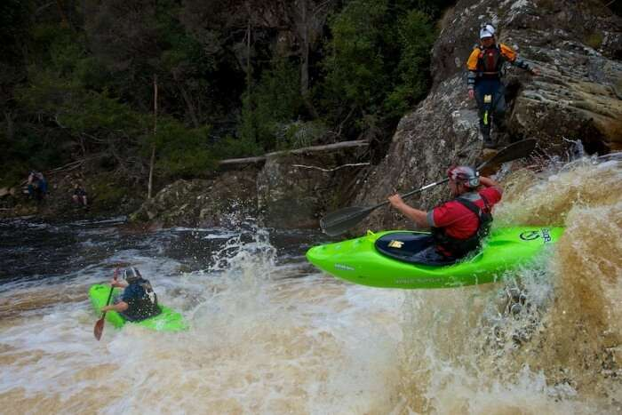 Dan Hall and Rob Parker on their way to winning the Teva Lea Extreme Race