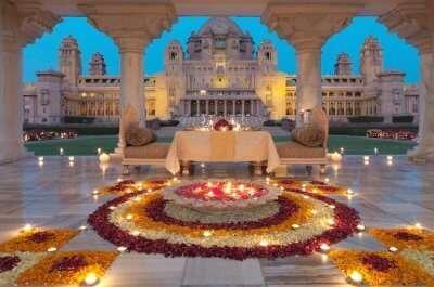 Beautifully lit umaid bhawan at night