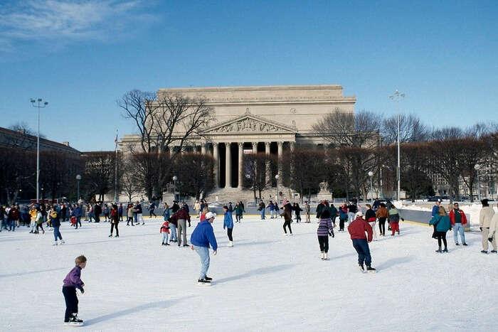 Ice Skating in snow