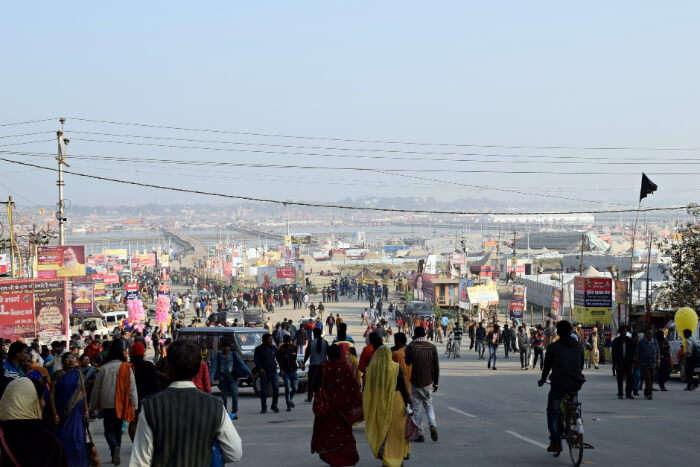 People on Road During Kumbh Mela