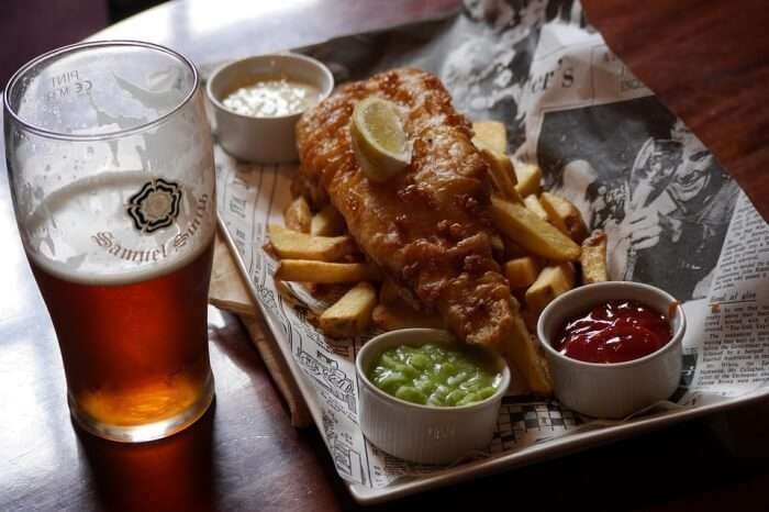 Drink Glass Meal Fish Food Lunch Chips Beer