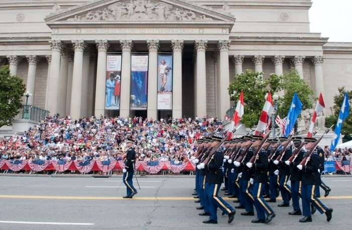 US soldiers doing parade view