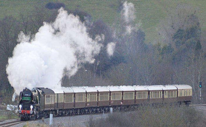 Train running on track