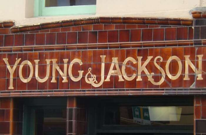 The entrance of Young & Jackson Hotel