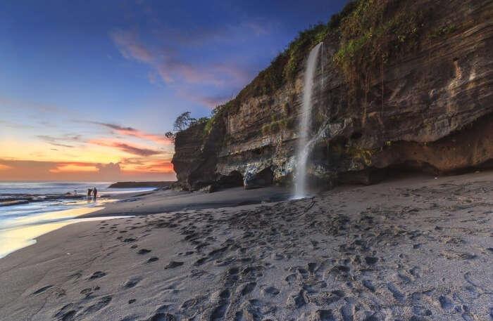 Melasti Beach Waterfall View