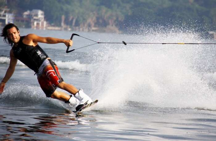 Wakeboarding in water