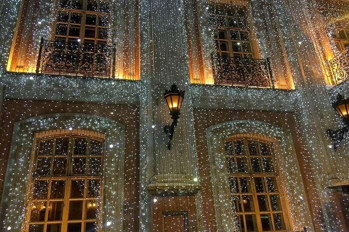 Café Pushkin Facade Christmas Moscow Decorations